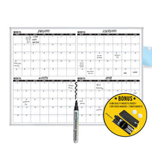 Load image into Gallery viewer, Dry Erase Calendar Whiteboard: Framed Magnetic White Calendar Board with Four Months Date Squares, 48 x 36 Inch, Ultra-Slim Silver Aluminum Frame