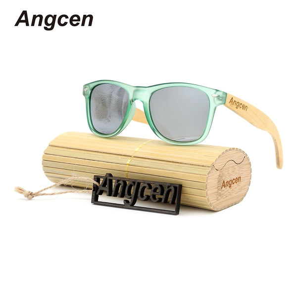 Angcen Bamboo Sunglasses Men Women Polarized Sunglasses uv400 Brand Designer Green Plastic Frame with Bamboo Legs glasses case