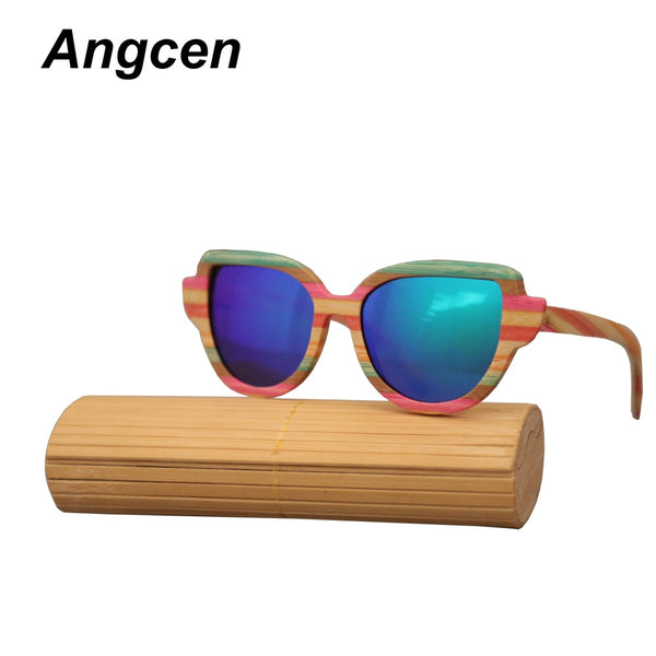 Angcen Cat Eye Sunglasses Men Polarized Wood Bamboo Sunglasses Vintage brand Women Mirror UV400 Protection Eyewear for Men CA906