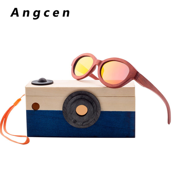 Angcen Children Sun glasses For Boys And Girls kids round sunglasses polarized vintage wooden bamboo sunglasses brand designer