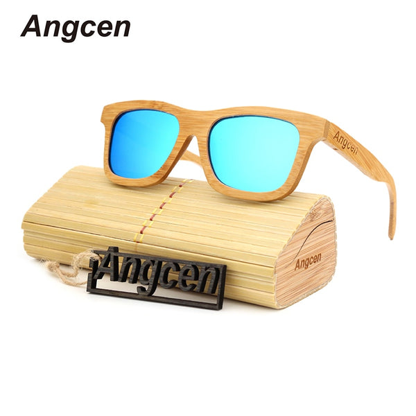 Angcen Square Sunglasses Women Brand Designer Wood Sunglasses Men Polarized UV400 Bamboo Sun Glasses With Vintage Wood box case
