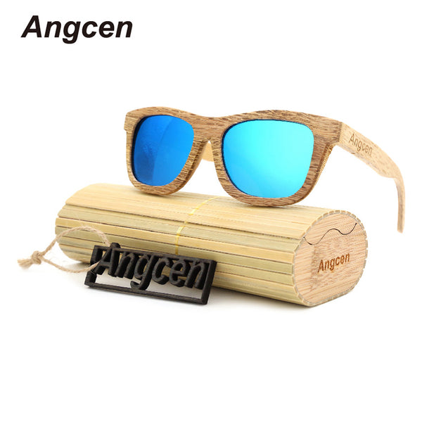Angcen Wood Sunglasses Men and Women Polarized Sunglass square Retro design Wooden and bamboo Composite Frame with Glasses Box