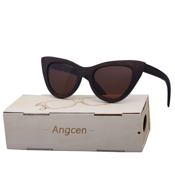 Angcen Cat Eye Wooden Sunglasses Women Polarized Lenses Vintage Sun Glasses ladies Mirror Brand Bamboo Sunglasses for Men UV400