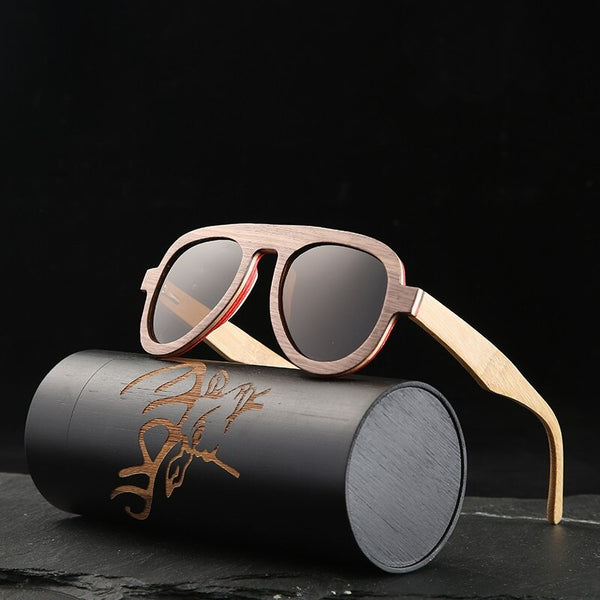 Angcen Vintage Polarized Pilot Sunglasses Men and Women Sun glasses Polarized retro wooden bamboo sunglasses unisex