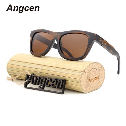 Angcen Unisex Men and Women Bamboo Sunglasses Polarized Retro Vintage Bamboo Sun glasses Handmade brand design with glasses case