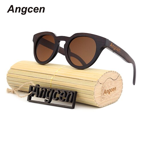 Angcen wood bamboo sunglasses ladies luxury vintage round sunglasses women brand design classic polarized sun glasses women