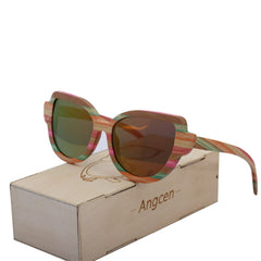 Angcen vintage bamboo sunglasses polarized women brand designer ladies wood sunglasses luxury handmade multicolor Frame with Box
