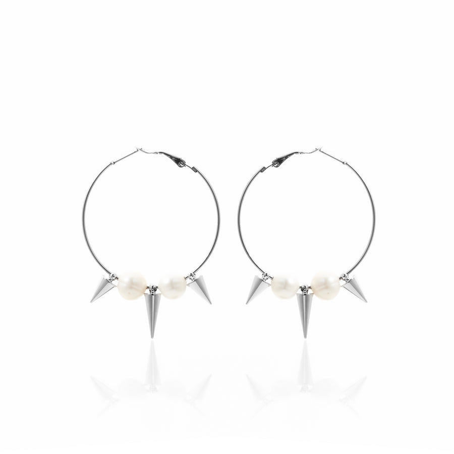 Temptress / Earrings / Silver + Pearl