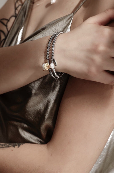 Silk & Steel Jewellery Together Forever Saint and Pearl bracelet gold