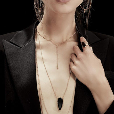 Silk&Steel Jewellery Diva Necklace - Sterling Silver + Smokey Quartz From Aria Collection