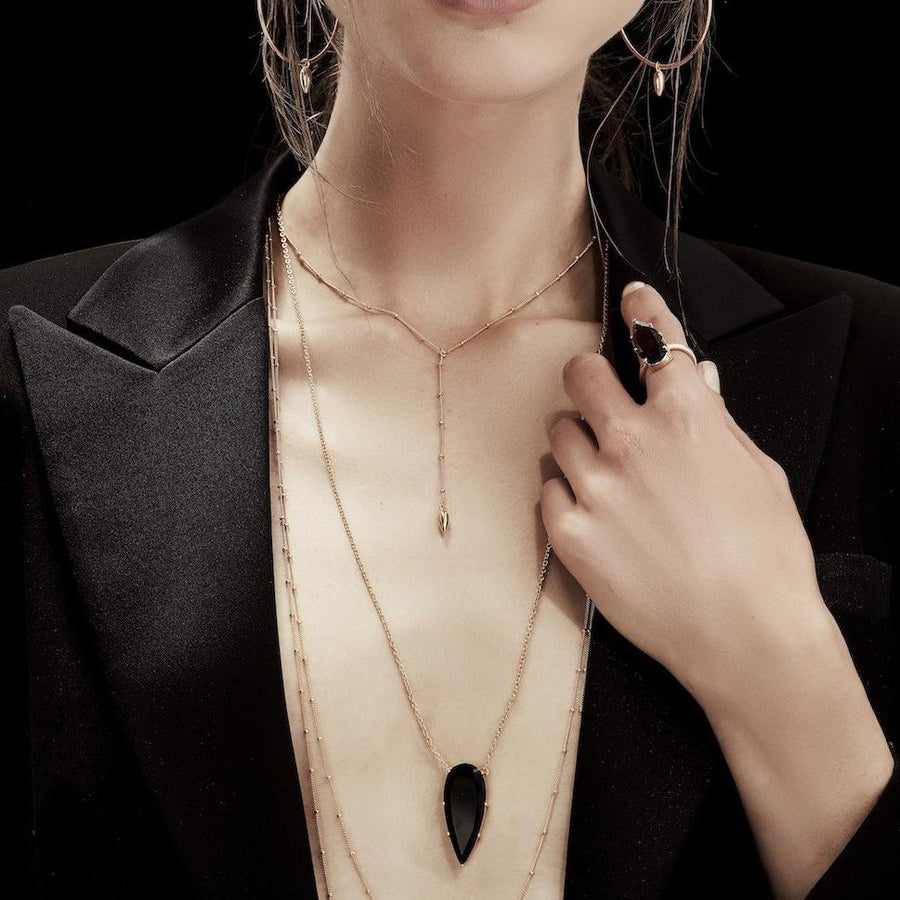 Silk&Steel Jewellery Diva Necklace - Sterling Silver Gold + Smokey Quartz From Aria Collection