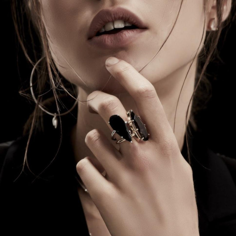 Silk&Steel Jewellery Smokey Quartz and Gold Diva Ring From Aria Collection