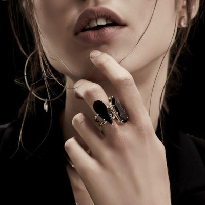 Silk&Steel Jewellery Black Spinel and Silver Diva Ring From Aria Collection