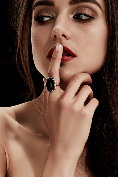 Silk&Steel Jewellery Silver and Onyx Reawakening Art Deco Snake Ring