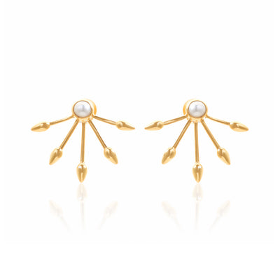 Silk&Steel Jewellery Axis Gold and Freshwater Pearl Earrings