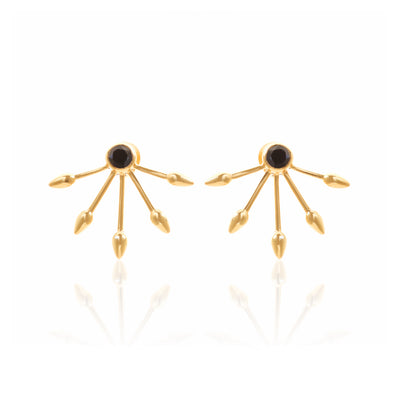 Silk&Steel Jewellery Axis Gold and Black Spinel Earrings