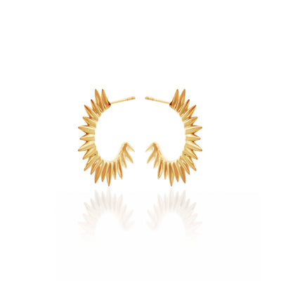 Silk&Steel Jewellery Axis Radiance Gold hoop spike earrings