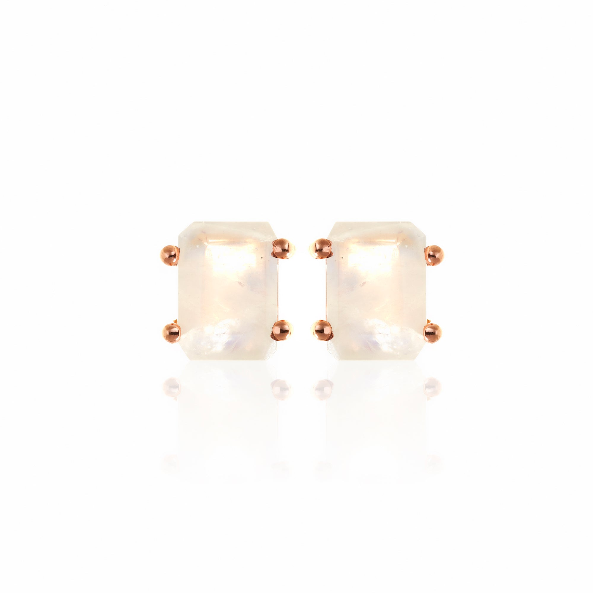 Silk&Steel Jewellery Prima Donna Moonstone and Rose Gold Earrings La Dolce Vita