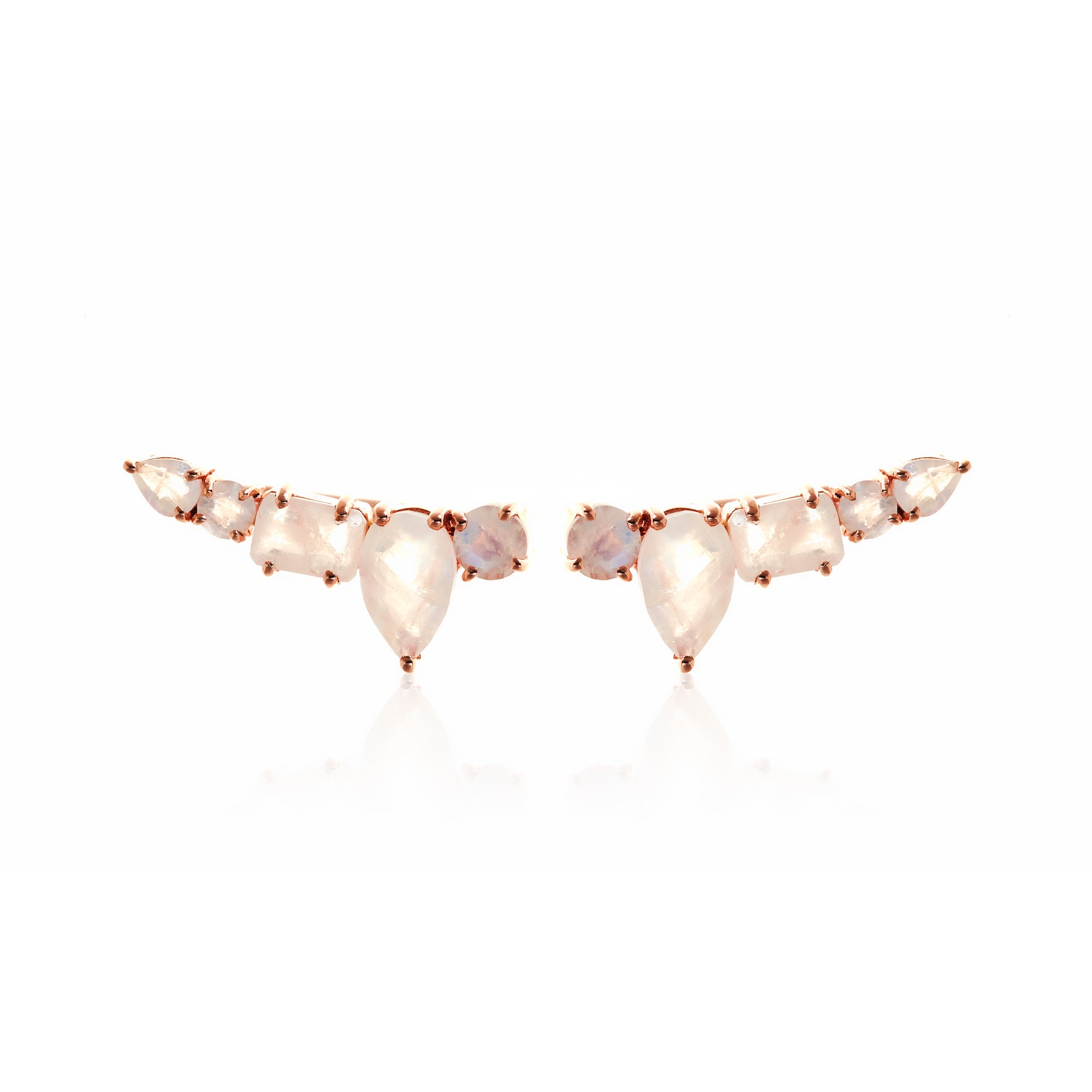 Silk&Steel Jewellery Prima Amore Moonstone and Rose Gold Ear Climber La Dolce Vita