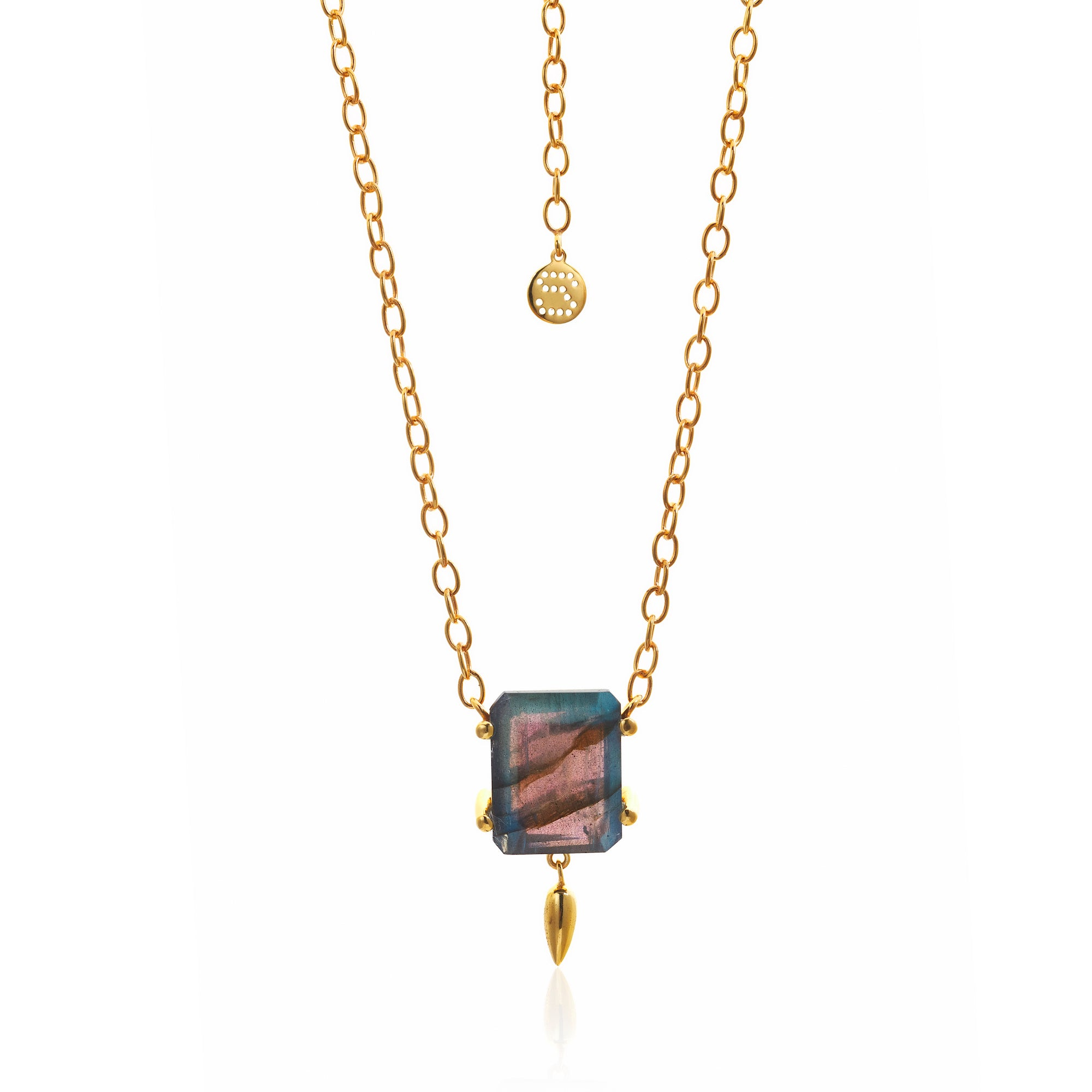 Silk&Steel Jewellery Prima Donna Labradorite and Gold Necklace from La Dolce Vita Collection