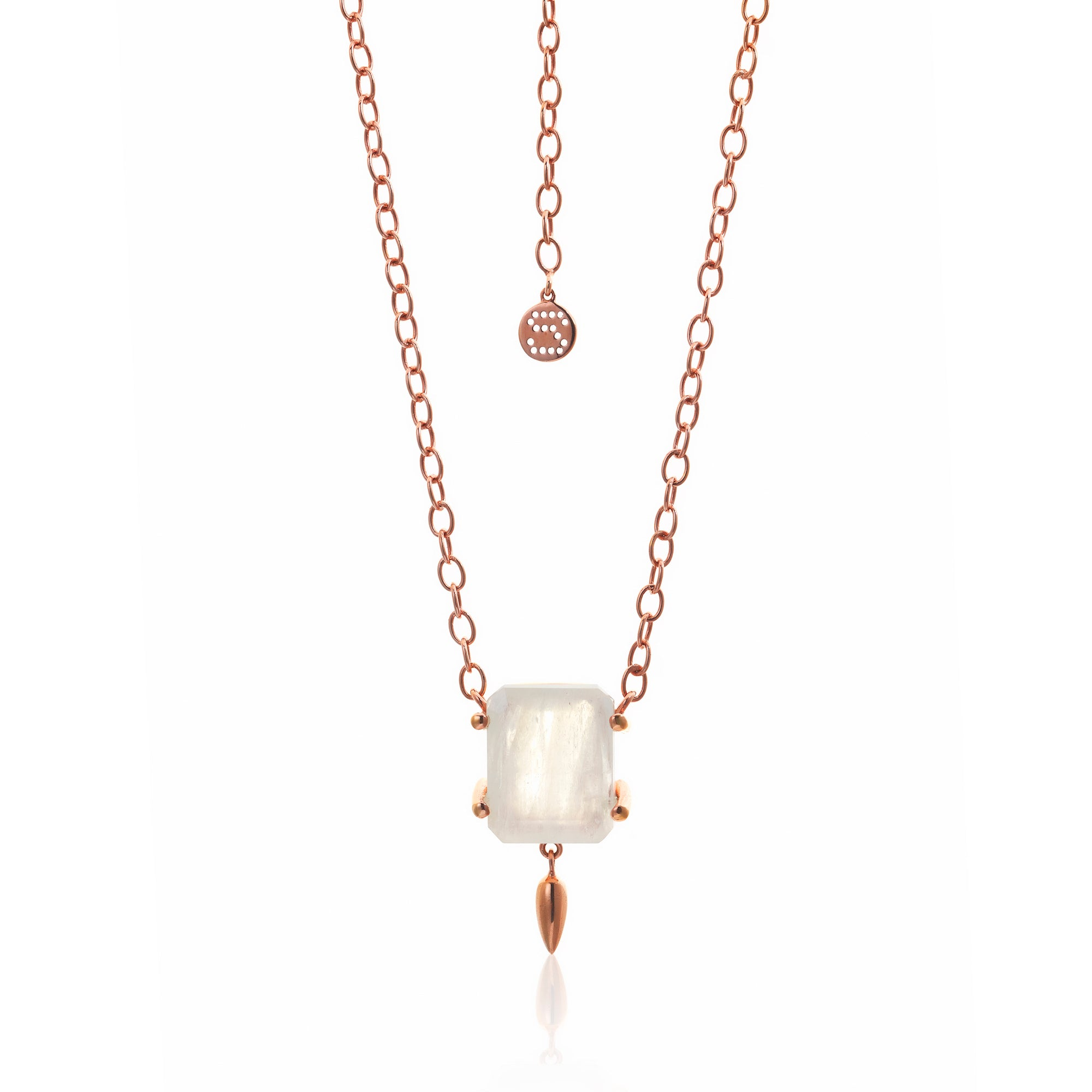 Silk&Steel Jewellery Prima Donna Moonstone and Rose Gold Necklace from La Dolce Vita Collection