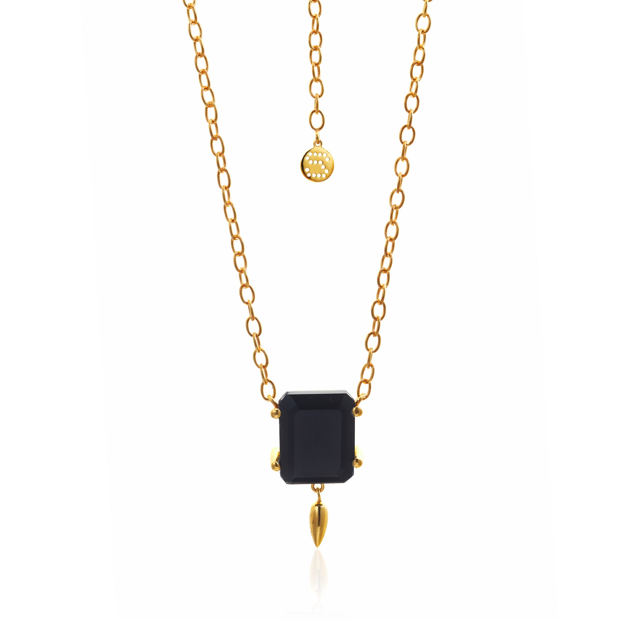 Silk&Steel Jewellery Prima Donna Black Spinel and Gold Necklace from La Dolce Vita Collection