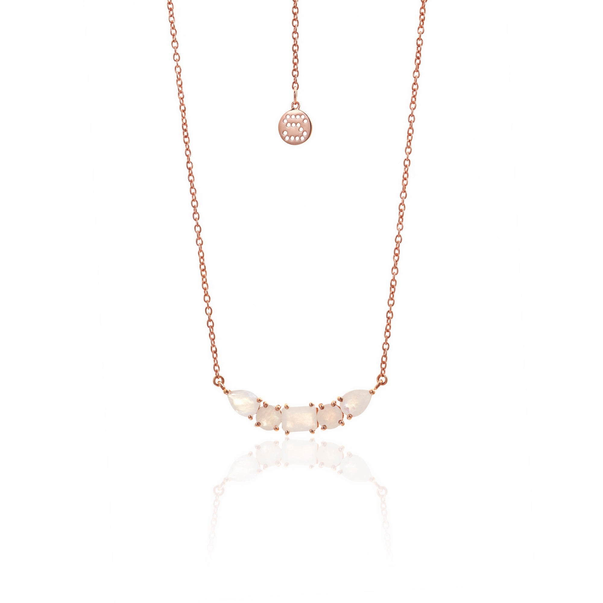 SILK&Steel Jewellery Amore Moonstone and Rose Gold Necklace from La Dolce Vita Collection