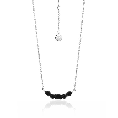 Silk&Steel Jewellery Amore Black Spinel and Silver Necklace from La Dolce Vita Collection