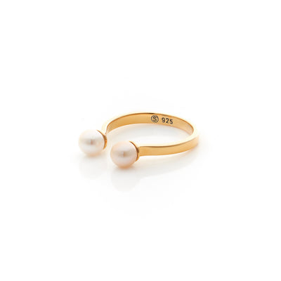Silk&Steel Jewellery Double Pearl Gold Pollen ring