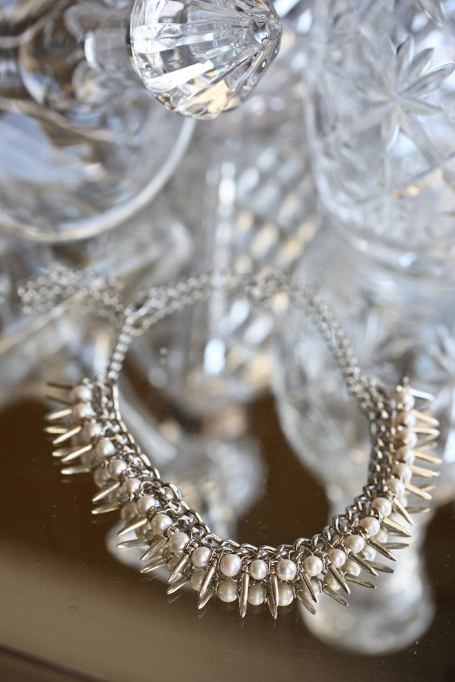 Couture / Luxe Pearl and Spike Necklace