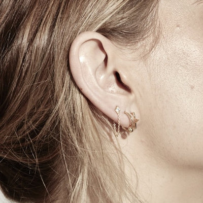 Silk & Steel Mini Star Hoops Gold