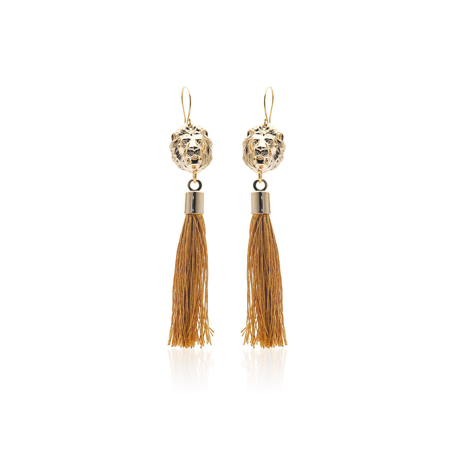Steel by Silk&Steel Bohemia Jewellery Freedom Lion and Tassel Earrings