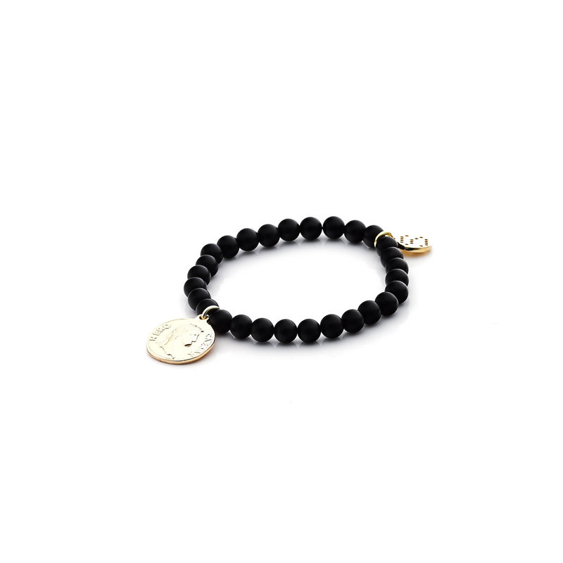 Steel by Silk&Steel Bohemia Love Child bracelet Onyx and Gold