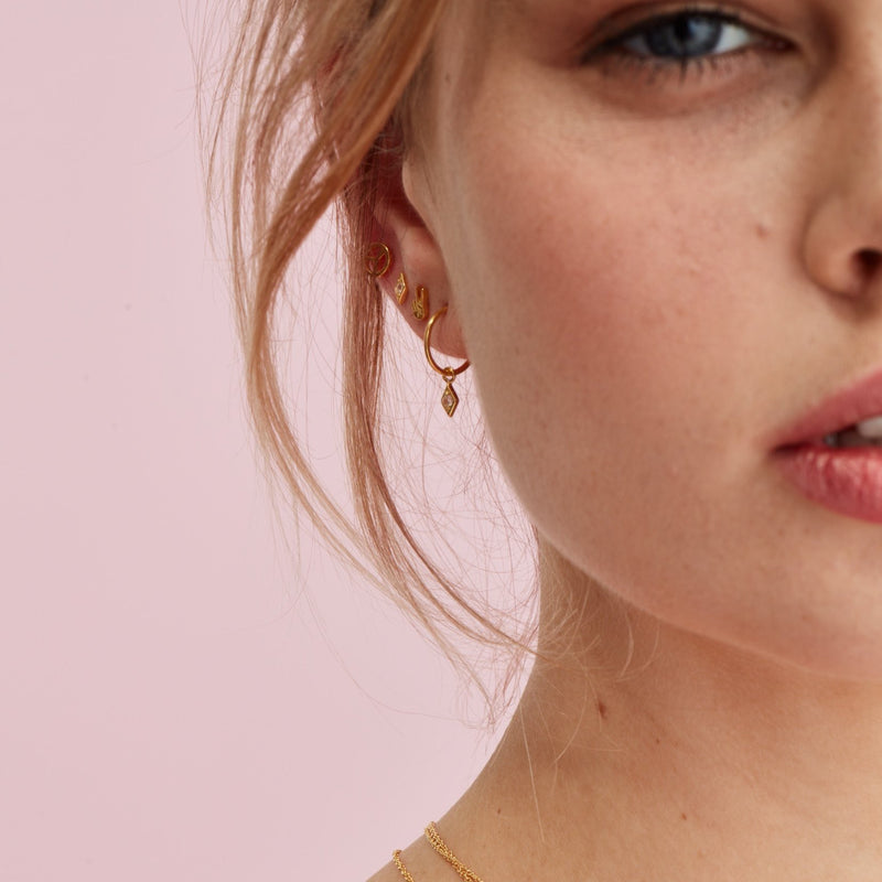 Silk & Steel Jewellery Superfine Keepsake Gold and Rose Quartz hoop earrings