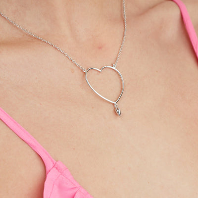 Valentine Silk & Steel Jewellery Lover Heart Necklace Gold