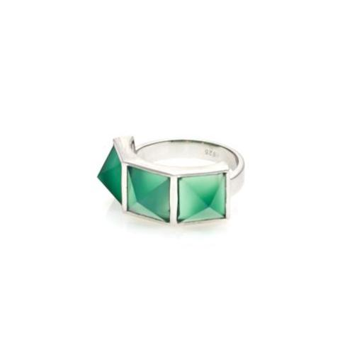 Rock Glam / Green Onyx + Silver / Ring