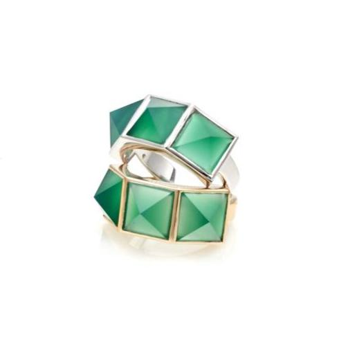Silk & Steel Jewellery Rock Glam Ring Gold Green Onyx