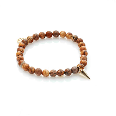 Silk & Steel All For One picture Jasper gold and spike bracelet