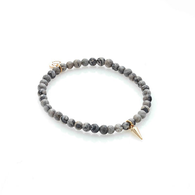 Silk & Steel In The Detail Grey Landscape Jasper Gold Bracelet