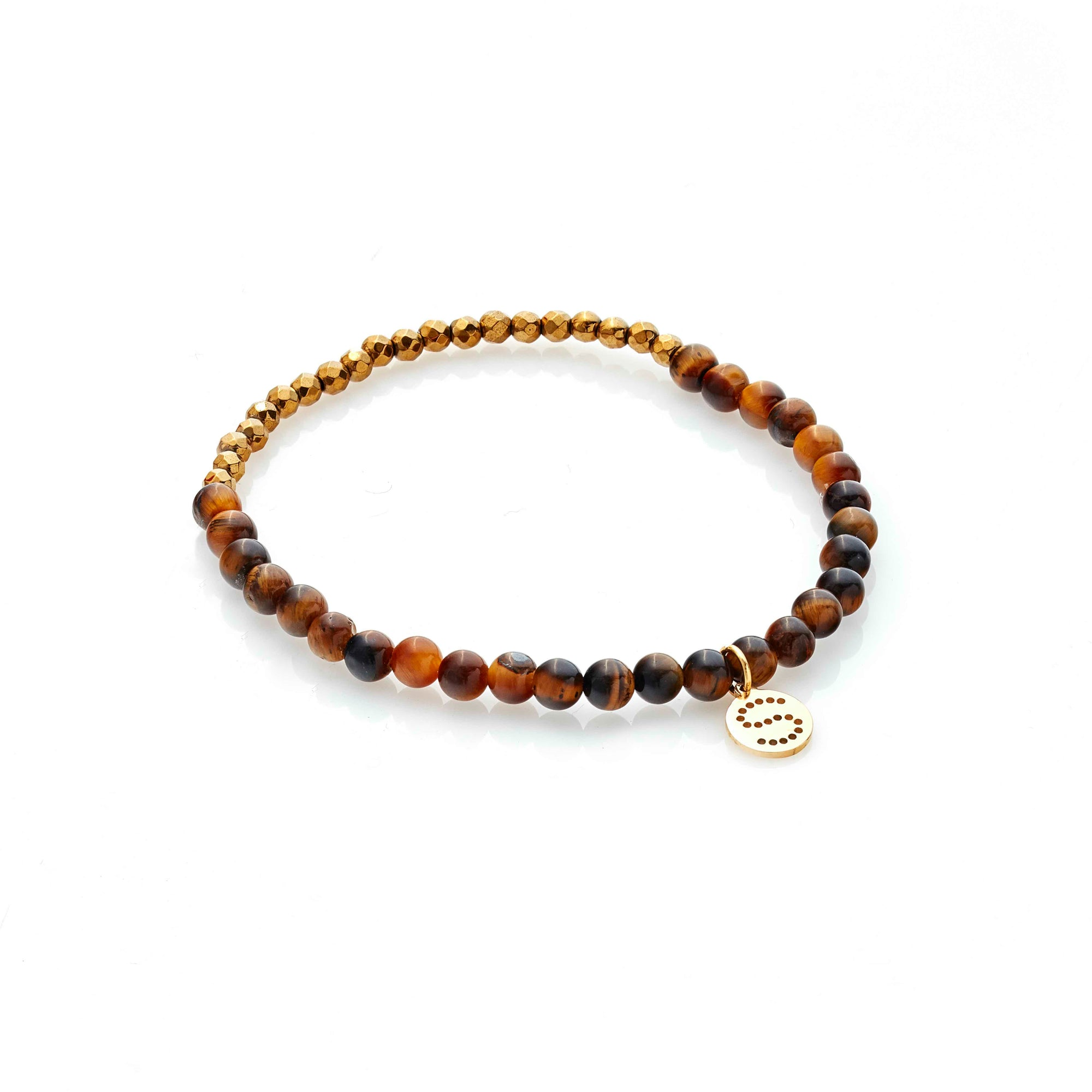 Silk & Steel Party At The Front Bracelet Gold Tigers Eye