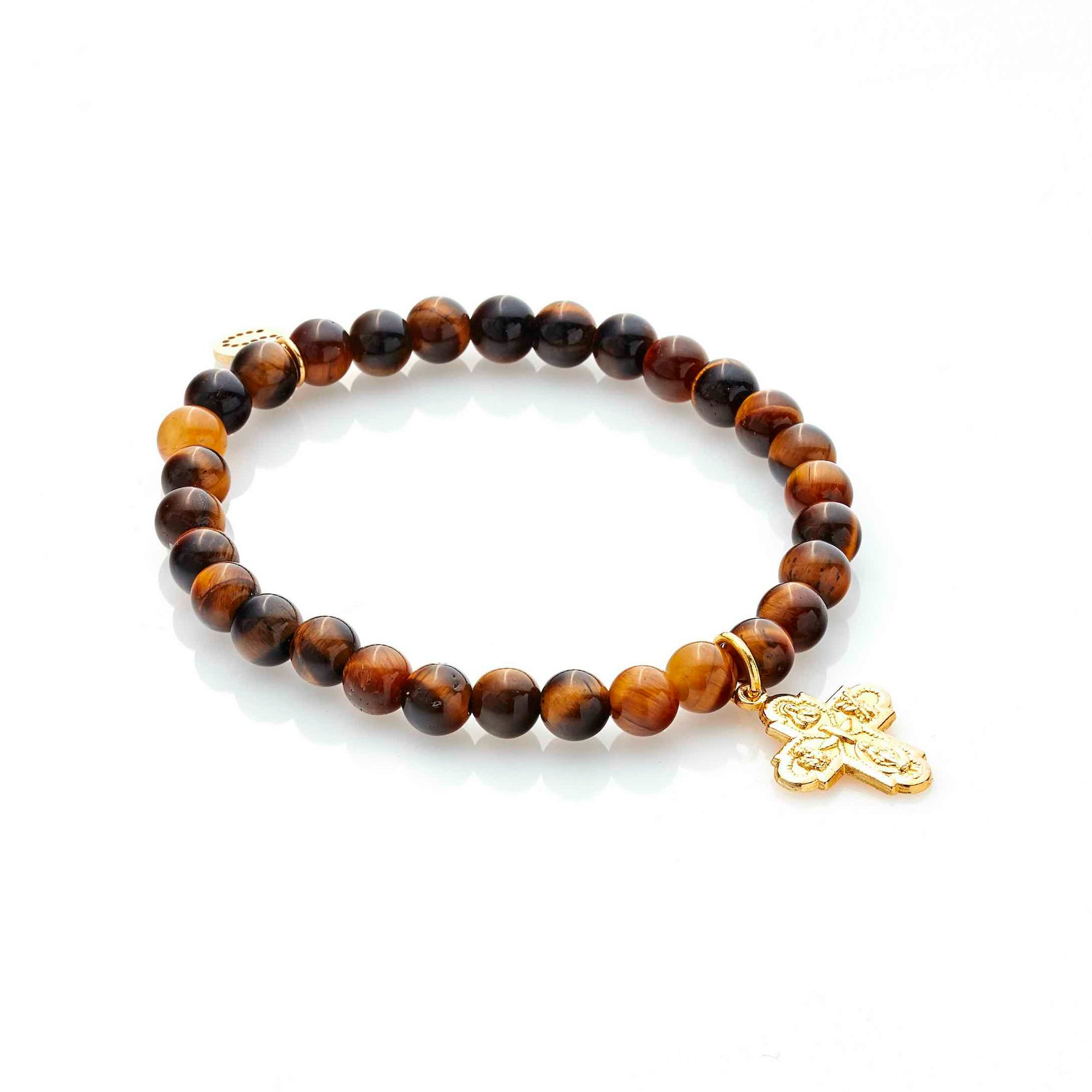 Silk & Steel Super Cross Bracelet Gold Tigers Eye