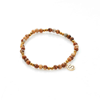 Silk & Steel Sequence Bracelet Picture Jasper and  Gold Hematite