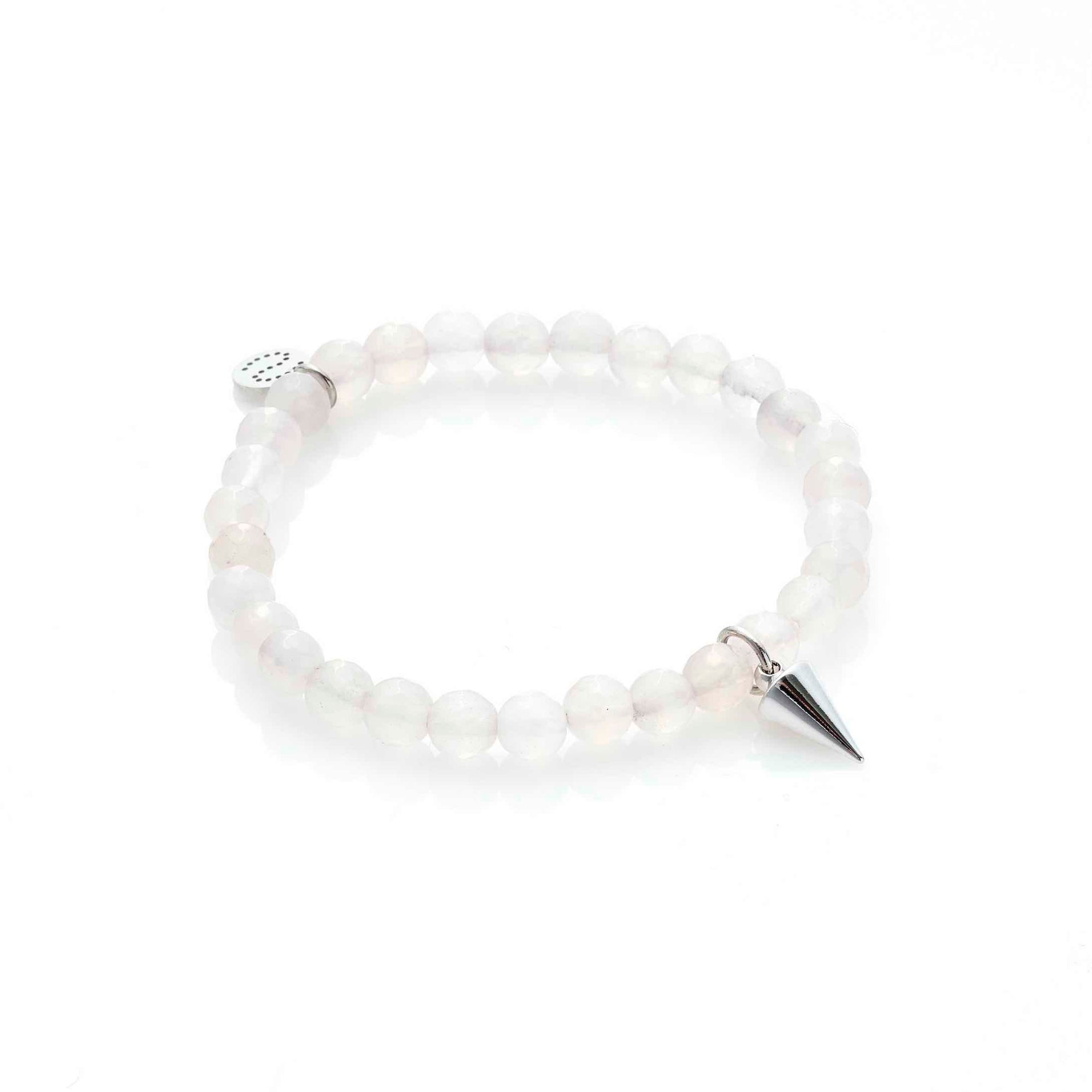 Silk & Steel Love Hate rose quartz silver and spike bracelet