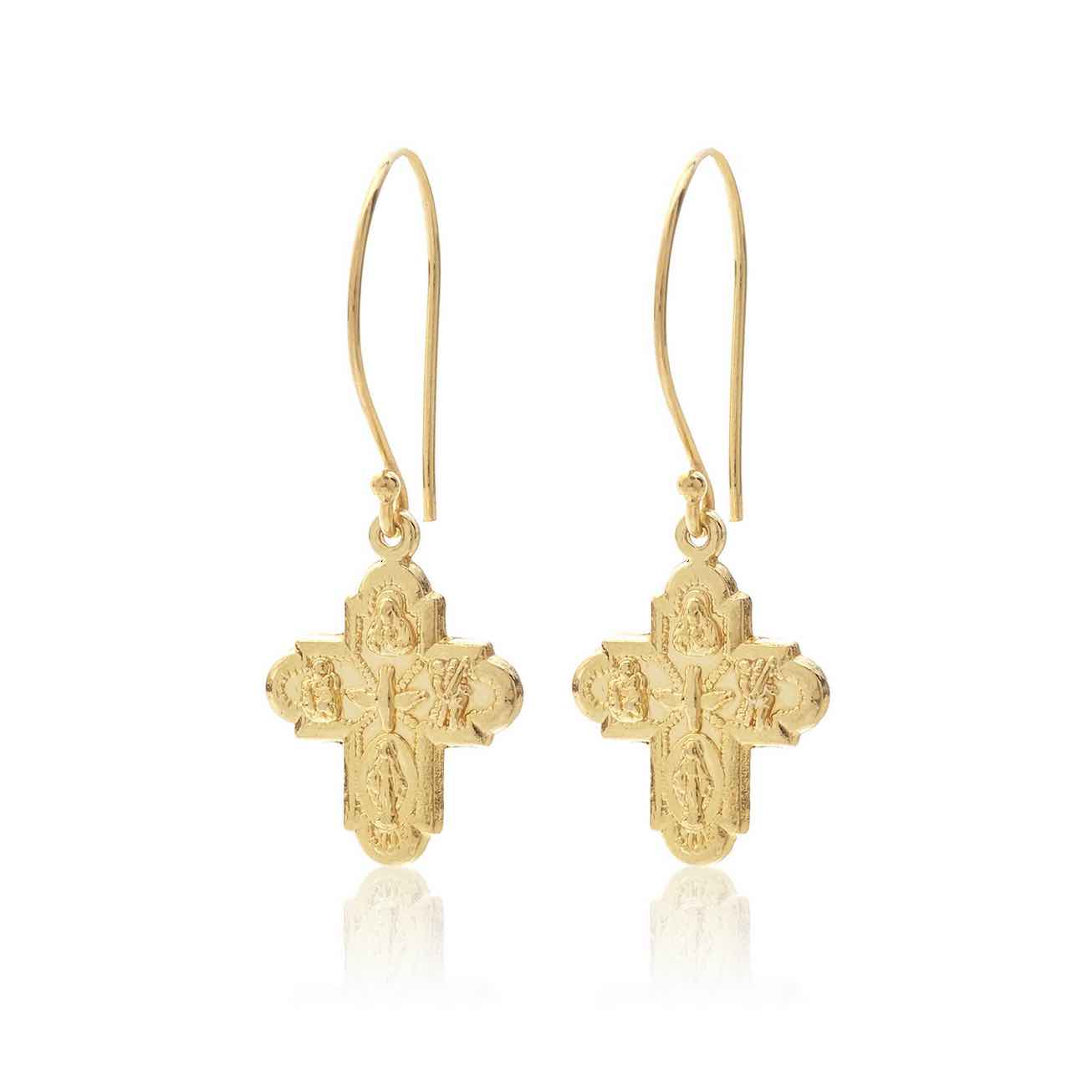 Silk & Steel Super Cross earrings gold