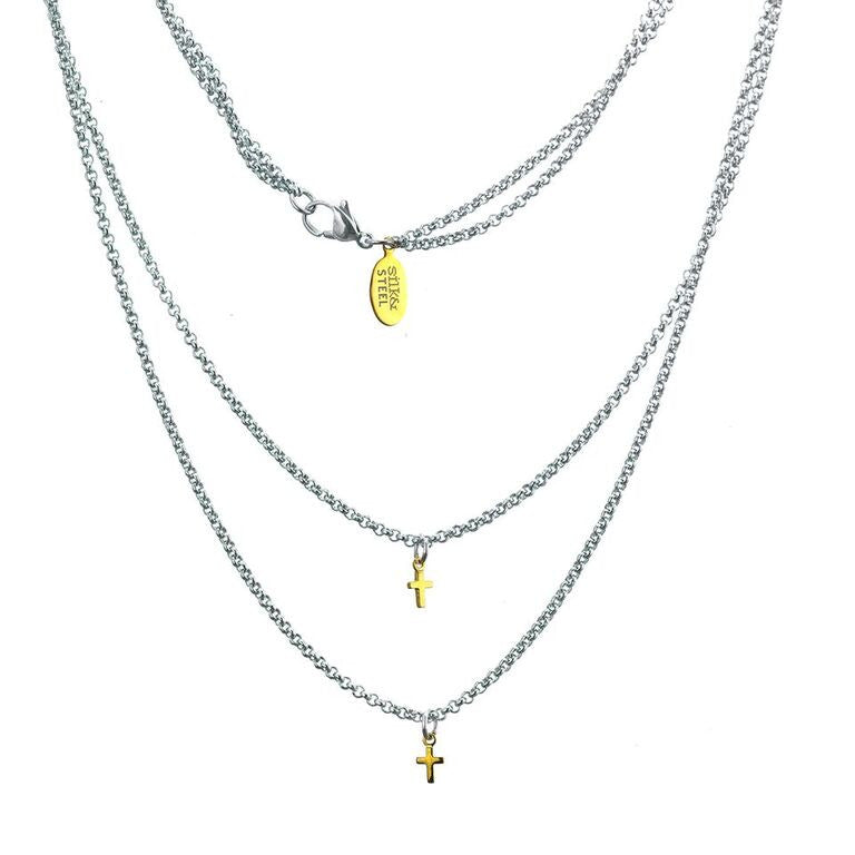 Silk & Steel Double Crossed Necklace - Silver and Gold