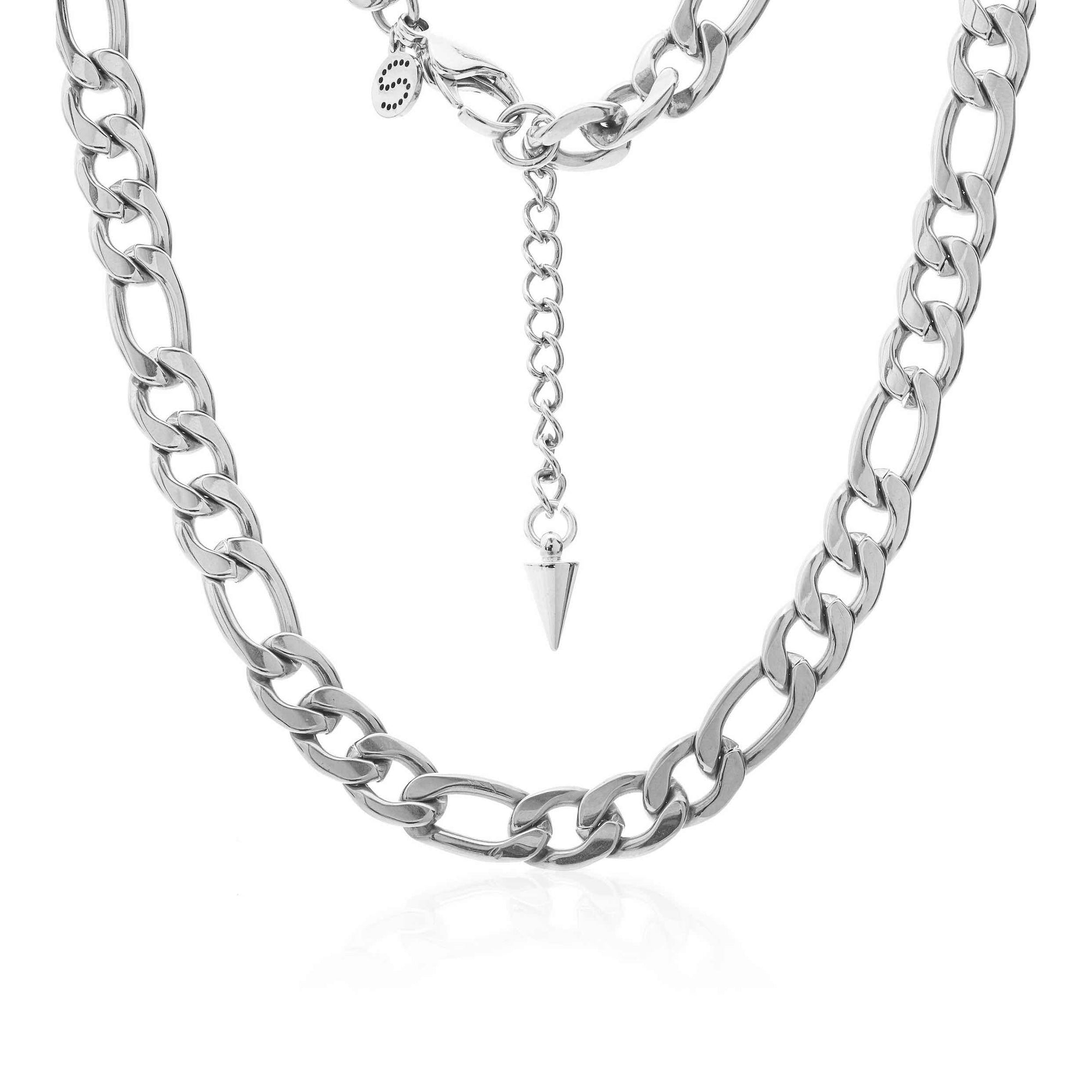 Silk & Steel Figaro Steel Necklace Silver