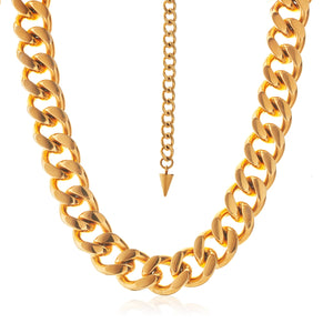 Silk & Steel Dynasty Statement Curb Chain Necklace  Gold Stainless Steel