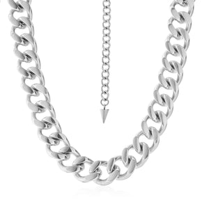 Silk & Steel Dynasty necklace silver stainless steel chunky curb chain