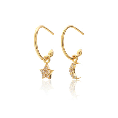 Superfine / Celestial / Hoop Earrings / White Topaz + Gold