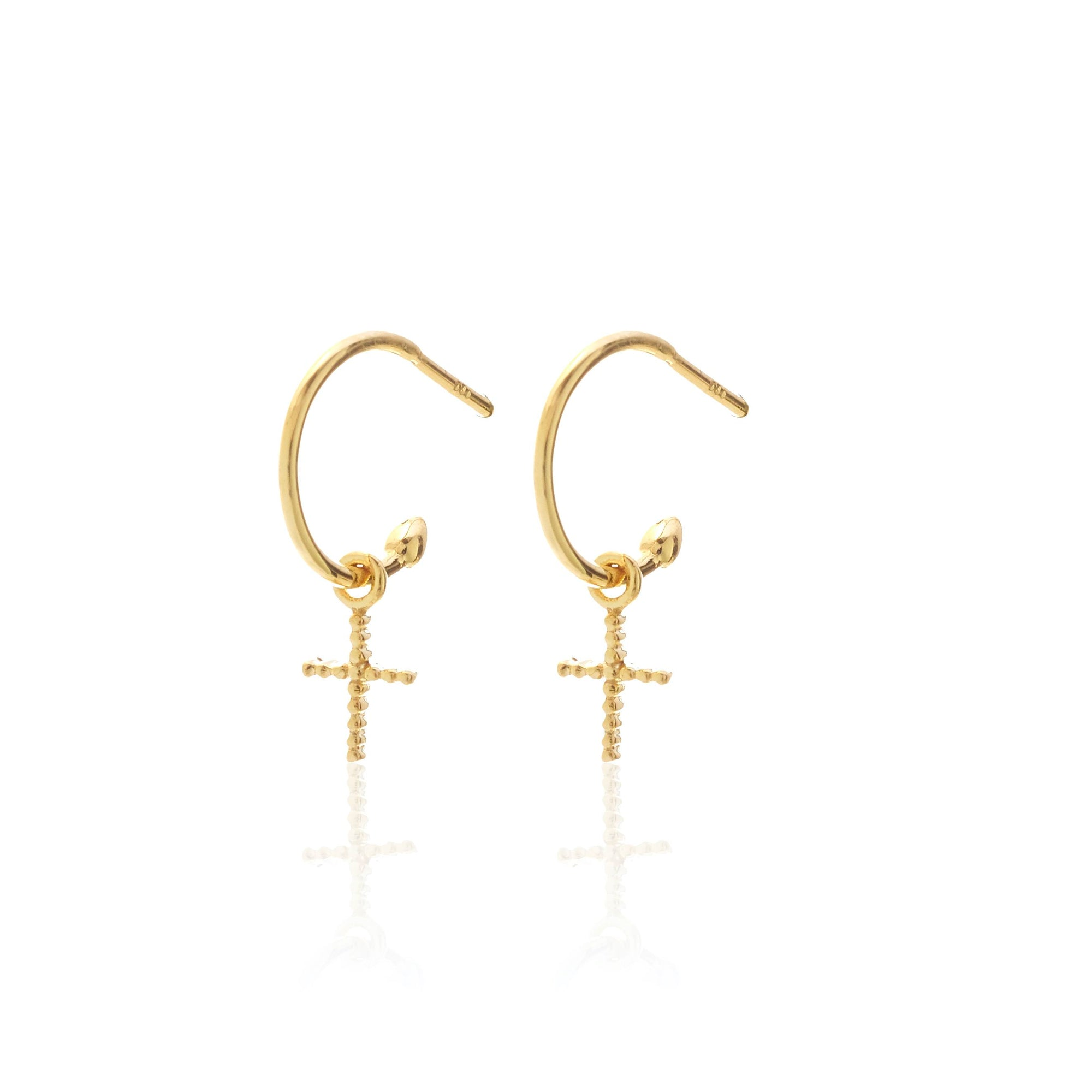Silk & Steel Jewellery Superfine Cross Earrings Gold